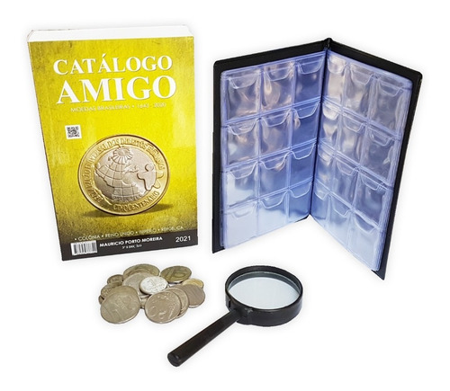 Catálogo Amigo + Pasta 120 Moedas + Brindes Lupa + 20 Moedas