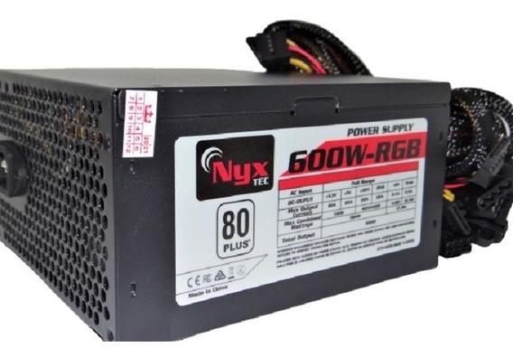 Fonte Nyx Tec Atx-600-rgb V.2019 Power Supply 600w 80 Plus