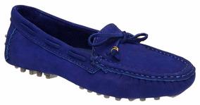 e1133e6a13 Sapato Azul Em Couro Nobuck Feminino Sapatilhas - Sapatos no Mercado ...