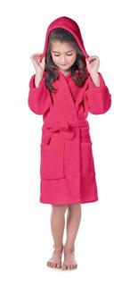 Roupão Flannel Fleece Com Capuz Infantil Rosa