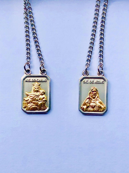 Escapulário Prata E Ouro Católico Corrente Jesus Cristo