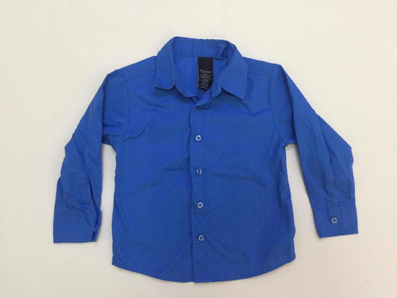 Camisa Nautca Vestir Niño Talla 6 Manga Larga Azul