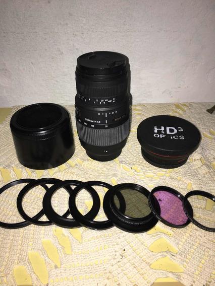 Kit Lente 70-300mm+grande Angul Macro+filtros+pára-sol Nikon