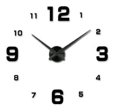 Reloj De Pared 3d Tamaño 50 X 50cm Color Negro Reloj Mini