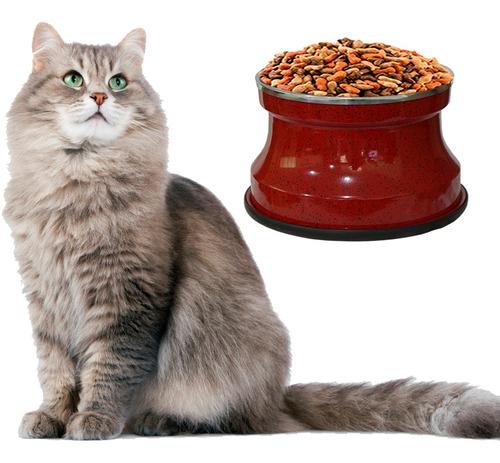 Imagem 1 de 3 de Comedouro Alto Gatos Alumínio Vermelho Gastrobel + Brinquedo