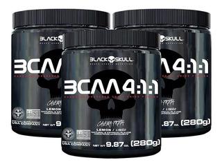 3x Bcaa 4:1:1 Drink Em Pó 280g - Black Skull Caveira Preta