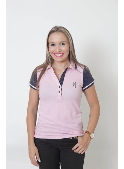 Camisa Polo Feminina Dual Cor Rosa E Marinho