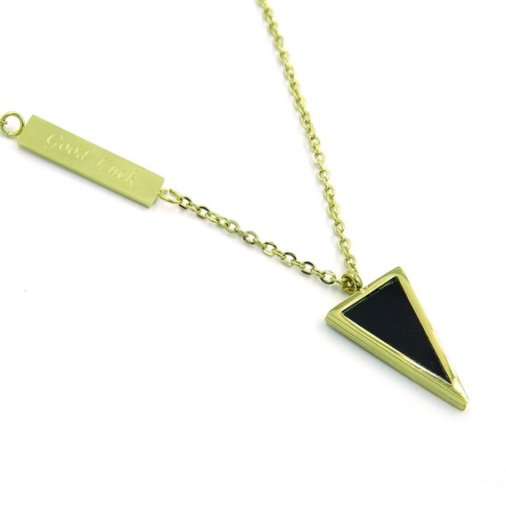 Collar Acero Dorado Triangulo Invertido Onix Good Luck