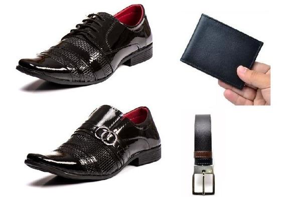 Combo2 Sapato Masculino Social Verniz +brinde Envio Imediato