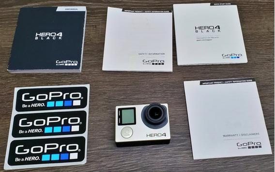 Gopro 4 Black C Cartão 64gb Bateria Extra E Estanques