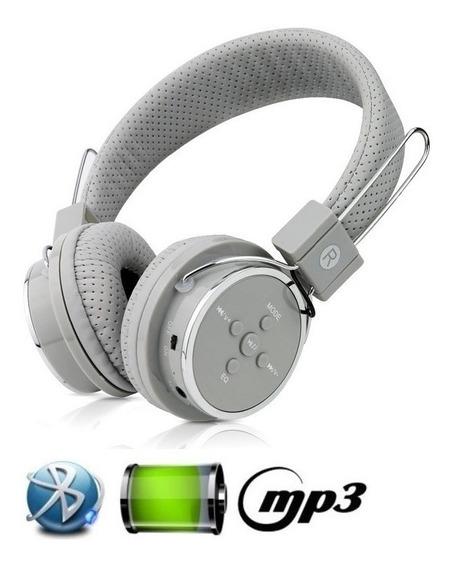 Fone De Ouvido Bluetooth Micro Sd Mp3 Rádio Fm Player Cinza