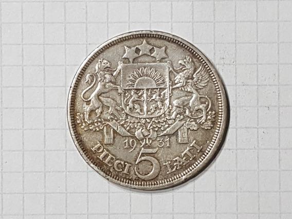 Letonia 5 Lati Plata 1931 25 Gr Excelente