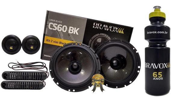 Kit 2 Vias Bravox 6 Cs60bk 130w Rms Bravox + Brinde