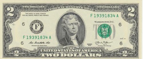 Par De Billetes De 2 Dólares Usa Series Consecutivas U N C