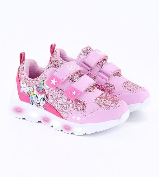 Zapatillas Footy Unicornio Luces Led Y Glitter Abrojos