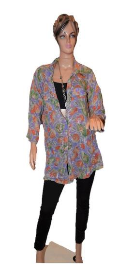 Indiastyle Camisa Estampada Con Flores Talle Unico