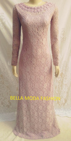 Vestido Longo De Renda Madrinha - Canoa Pérolas - Plus Size
