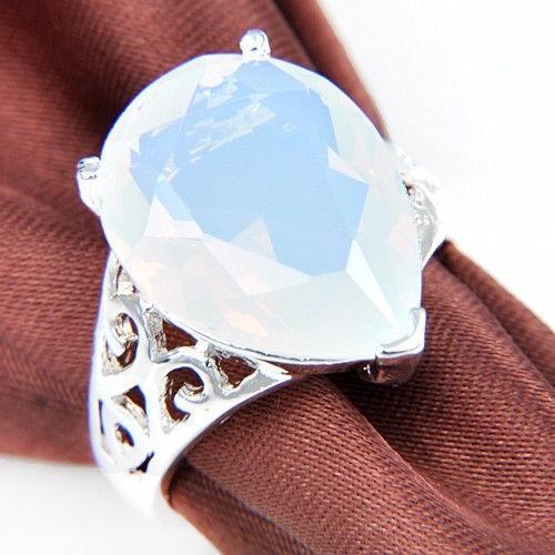 Anel Aro 18 De Prata Em Forma De Gota Arco-íris
