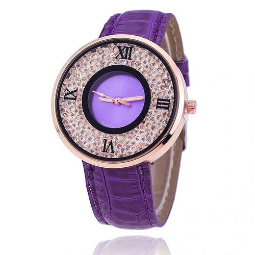 Relógio Dress Watch Lilás Cristal Importado Pronta Entrega