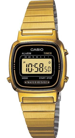 Relógio Casio Feminino La670 Dourado/ Preto
