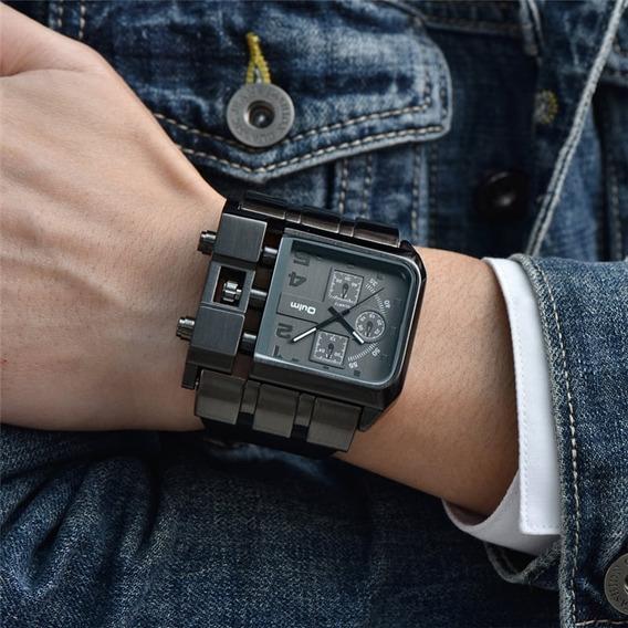 Relógio Masculino Aço Inoxidável Preto Oulm Importado Rustico Quadrado Ponteiros Estilo Militar