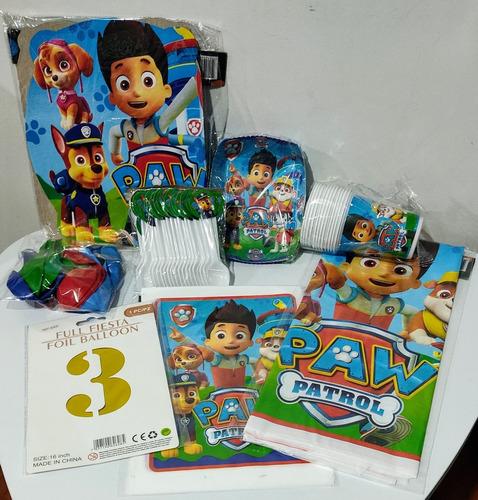 Kit Decoración Infantil Paw Patrol, Para 12 Personas.