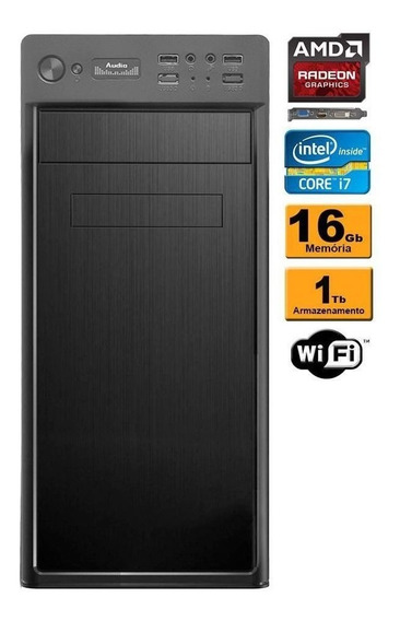 Computador Desktop Core I7 16gb 1tb Vídeo 2gb Radeon Wifi