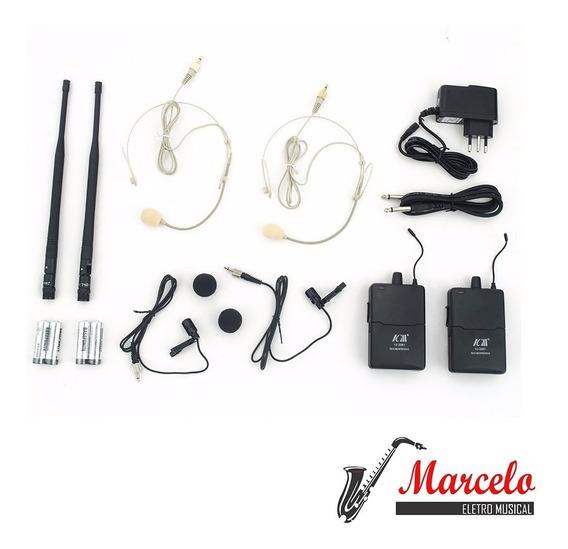 Microfone Sem Fio Duplo Icm Iu-2081 Kit Com 3 Unidades