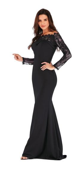 Vestido De Fiesta Negro Sin Hombros Moderno Manga Encaje