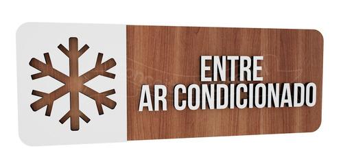 Imagem 1 de 3 de Placa Indicativa Sinalização Ar Condicionado Restaurante Mdf
