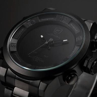 Reloj Shark Black Stainless Steel Led Quartz Army Wrist Wat3