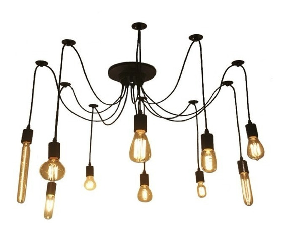 Lampara Vintage De Techo Araña Colgante Edison Para 10 Focos
