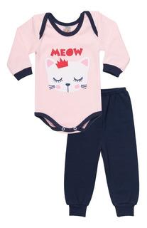 Roupa De Bebê Menina Conjunto Body E Calça Inverno Isensee