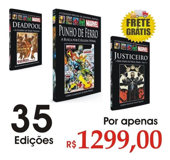 Coleção Livro Hq Graphic Novels Marvel Capa Dura 35 Volumes