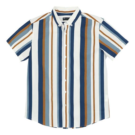 Camisa Estampado Rayas De Hombre C&a 1055279
