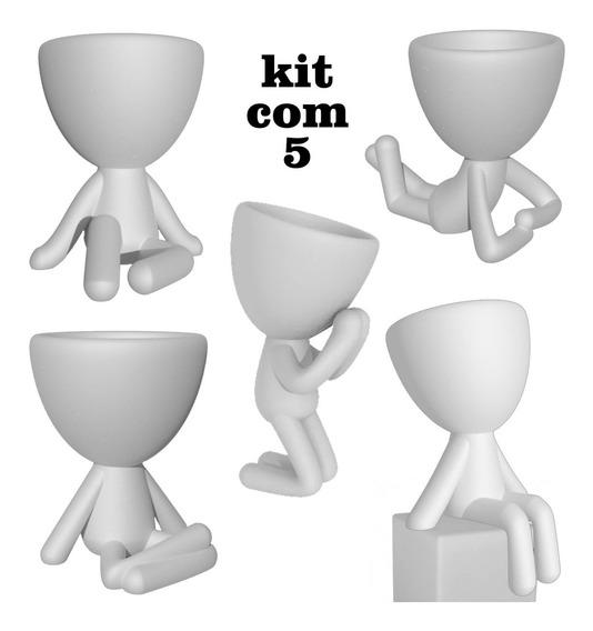 Kit 5 Vasinhos Bob - Robert Plant Para Suculenta - Bbb 20