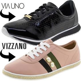 Tenis Feminino Barato Kit 2 Pares Via Uno + Vizzano Original