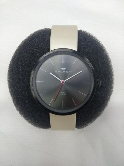 Relógio Fem. Backer 3553112m Couro Sintético Branco- Vltrine
