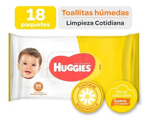 Toallas Húmedas Huggies Limpieza Cotidiana X 96 Caja X 18