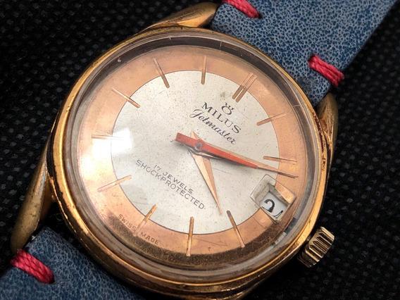 Relógio Milus Vintage Jetmaster Corda Manual 32mm Funcionando