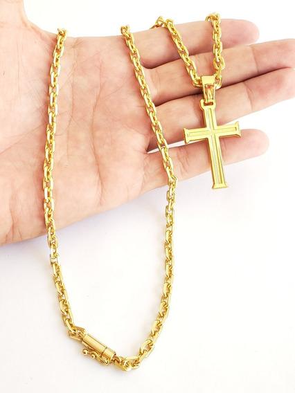 Cordão Cadeado 5mm Com Pingente De Cruz Banhado A Ouro 18k