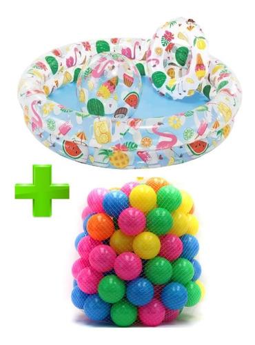 Set Piscina Frutas Intex + Balón + Flotador + 100 Pelotas