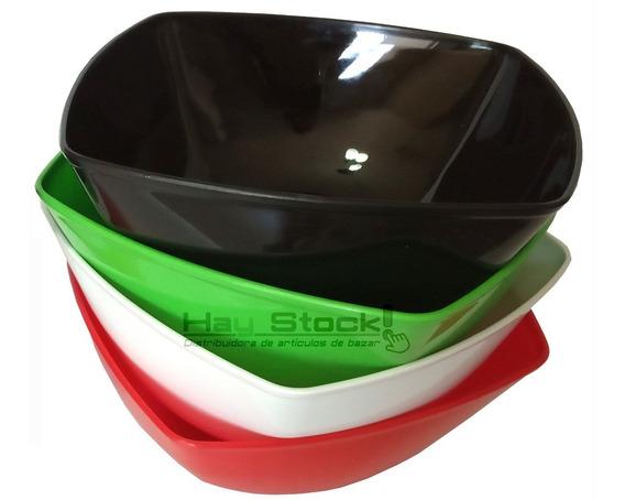 Ensaladera Plástica Cuadrada Bowl / 3 Unidades