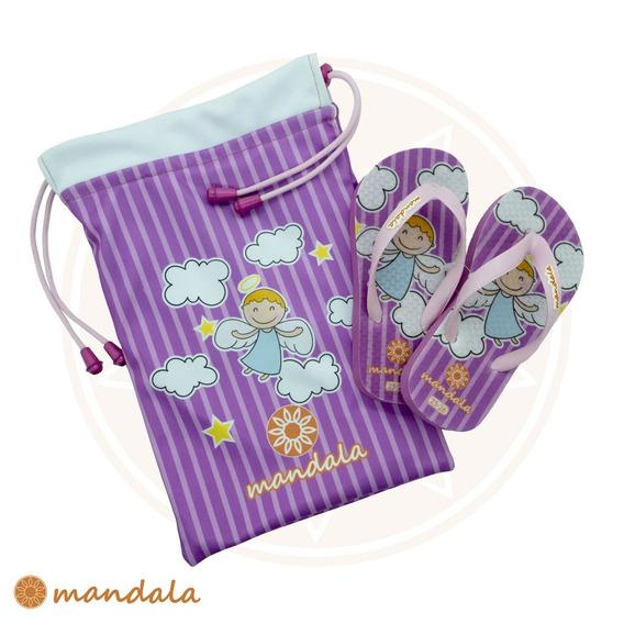 Kit Chinelo Mandala Kids Anjinha + Mandala Bag