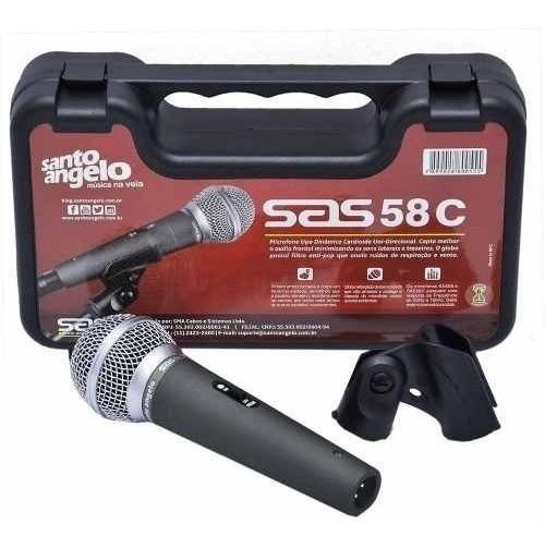 Microfone Santo Angelo Sas 58c Maleta Cachimbo Sm 58 Sas58c