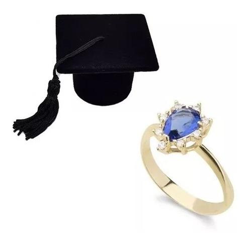 Anel De Formatura Azul Folheado A Ouro 18k + Caixa Chapéu