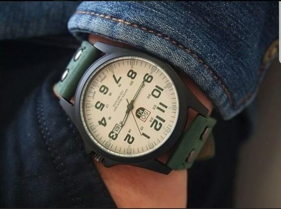 Relógio Soki Pulseira De Couro Verde Caixa Branca
