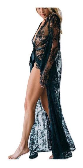 Salida De Playa Larga Encaje Pareo Elegante Vestido Mujer Blusa Semitransparente Cinturon