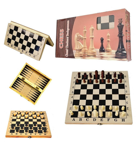 Imagen 1 de 10 de Juego De Mesa Ajedrez Damas Backgammon Madera 3 En 1 Viaje