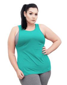 Roupa Feminina Camiseta Regata Fitness Cavada Plus Size +56
